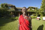Masai Warrior in Red Robe at Lewa Conservancy, Kenya Africa Photographic Print