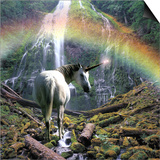 Unicorn Walking Towards Waterfall Poster by Buddy Mays