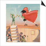 Illustration of Peter Pan and Captain Hook Sword Fighting by Roy Best Posters