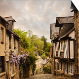 Quaint French Houses and Cobblestone Street Print by Mike Kemp