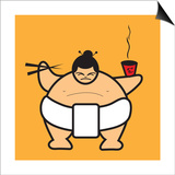 Sumo eating bowl of noodles Prints by Sabet Brands