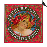 Poster Advertising 'Lefevre-Utile Gauffrettes Vanille', 1897 Posters by Alphonse Mucha