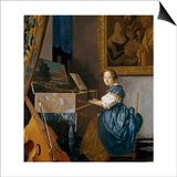 A Young Woman Seated at a Virginal Poster by Jan Vermeer