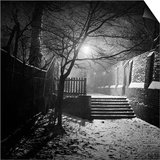 Hampstead, London, a Set of Steps in the Snow in a Wide Alleyway at Night Poster by John Gay