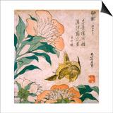 Peony and Canary Art by Katsushika Hokusai