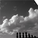 Distant view of Moai statues, Easter Island, Chile Posters
