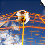 Soccer Ball Going Into Goal Net Art by Randy Faris