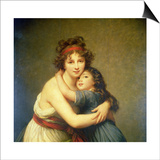 Madame Vigee-Lebrun and Her Daughter, Jeanne-Lucie-Louise (1780-1819) 1789 Print by Elisabeth Louise Vigee-LeBrun