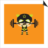 El Frijole Lifting Weights Print