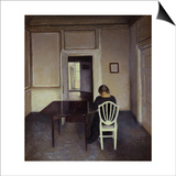Interior with a Woman Seated on a White Chair Posters by Vilhelm Hammershoi