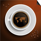 World Map In Coffee Cup Art by  MiloArt