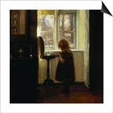 A Girl Standing by a Sewing Table Prints by Carl Holsoe