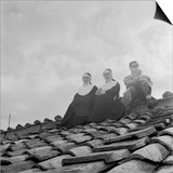 People on a Rooftop Awaiting the Coronation of Pope John XXIII, Vatican City, 4th November 1958 Prints