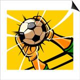 Goalkeeper's hands catching a soccer ball Poster