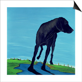 Joe's Black Dog (New View), 2000 Print by Marjorie Weiss