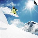 dellm60 - Snowboarder At Jump Inhigh Mountains At Sunny Day - Reprodüksiyon