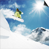 Snowboarder At Jump Inhigh Mountains At Sunny Day Prints by  dellm60
