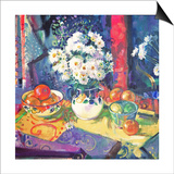 Flowers and Fruit in a Green Bowl, 1997 Posters by Peter Graham