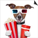 3D Glasses Movie Popcorn Dog Prints by Javier Brosch
