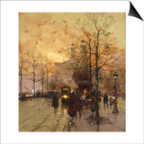 Figures on a Parisian Street at Dusk Poster by Eugene Galien-Laloue