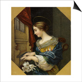 Saint Cecilia Playing the Organ Plakater af Carlo Dolci