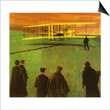 The First Flight by the Wright Brothers at Kitty Hawk Prints by  English School