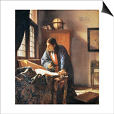 Geographer, 1669 Prints by Jan Vermeer