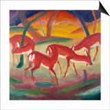 Red Deer; Rote Rehe 1 Posters by Franz Marc