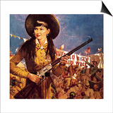 Sharpshooter Annie -- Annie Oakley and Her Gun Print by  McConnell