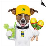 Funny Dog Brazil Poster by Javier Brosch