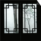 Trees Seen Through House Windows in Pingyao Print by Robert van der Hilst