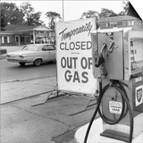 1970s Gas Pump with Temporarily Closed Sign Posters