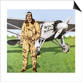 Charles Lindbergh and the Plane in Whch He Flew across the Atlantic, Solo. Prints by John Keay