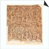 Lining Paper with a Tudor Rose Pattern, C.1550 (Woodblock Print) Prints by  English