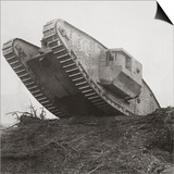 A Tank Leads the Infantry into Action and Breaks Down the Wire Entanglements Print by  English Photographer