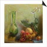Orchid with Basket of Fruit and Green Vase Poster by Gail Schulman