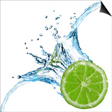 Fresh Lime Dropped Into Water With Splash Isolated On White Art by  artjazz