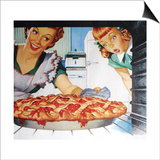 Woman taking cherry pie from oven Posters