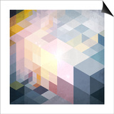 Abstract Geometry Blue Grunge Background Prints by  art_of_sun