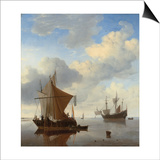 A Calm - a Smalschip and a Kaag at Anchor with an English Man-O'-War Beyond Poster by Willem Van De, The Younger Velde