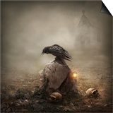 Crow Sitting on a Gravestone Prints by  egal