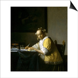 A Lady Writing a Letter Posters by Jan Vermeer