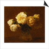 Six Yellow Roses in a Vase; Six Roses Jaunes Dans Une Vase, 1903 Prints by Henri Fantin-Latour