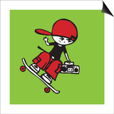 Skateboarder holding boom box Poster by Sabet Brands
