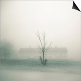 Foggy Morning Scene with Barn Prints by Kevin Cruff