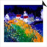 Village Houses by the Sea Art by John Lowrie-Morrison