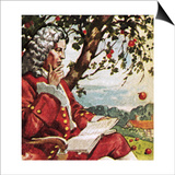 Newton Watching Apples Fall Poster by  English School