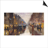 A Berlin Street in the Rain with Traffic; Berliner Strasse Beim Regen Mit Kutschen Prints by Lesser Ury