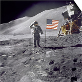 Apollo 15 Astronaut David Scott, Gives a Military Salute to US Flag on the Moon, July 30, 1971 Prints
