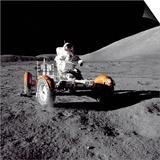 Apollo 17 Astronaut Eugene a Cernan Driving the Lunar Rover Posters